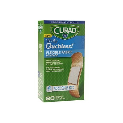Curad Truly Ouchless Flexible Fabric Bandage, .75 x 3 inch (1.9 x 7.6cm), 20 ea
