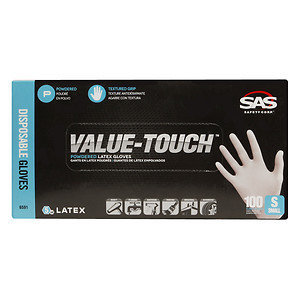 S.a.s. Safety Corp. SAS Safety Corp. True Value Latex Powder-Free Disposable Gloves, Beige, Small, 100 ea