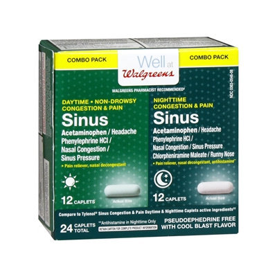 Walgreens Sinus Congestion & Pain Combo Pack Caplets