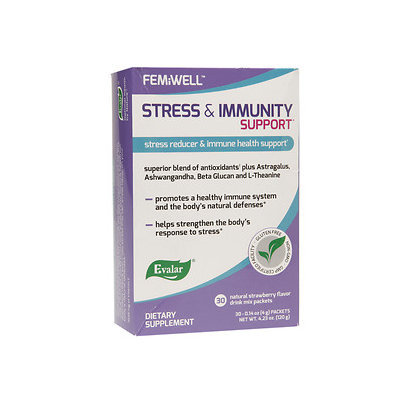 Evalar FEMiWELL Stress & Immunity Support Drink Mix Packets, Strawberry, 30 ea