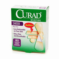 Curad Sheer Adhesive Bandages, Assorted, 80 ea