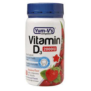 Yum V's Yum-V's Vitamin D3 2000IU Adult Jellies, Strawberry, 60 ea