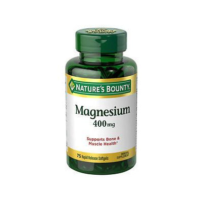 Nature's Bounty Magnesium Mineral Supplement Softgels, 400mg, 75 count