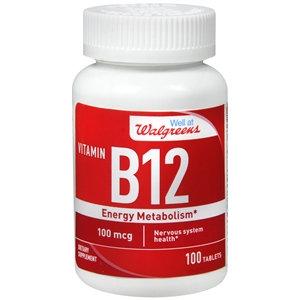 Walgreens Vitamin B12 Energy Metabolism 100mcg, Tablets, 100 ea