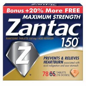 Zantac 150 Ranitidine Tablets 150mg / Acid Reducer Bonus Size, (65 + 13), 78 ea