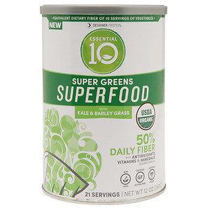 Designer Whey Essential 10 Super Greens Superfood, 12 oz