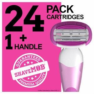 ShaveMob Women's 6 Blade with Flex Head Shaving Razor Kit - 24 Cartridges & 1 Handle, 1 set