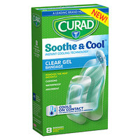 Curad Soothe & Cool Instant Cooling Technology Clear Gel Bandages, Assorted, 8 ea