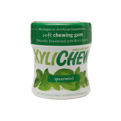 Xylichew Soft Chewing Gum Sweetened with Birch Xylitol Canister Packs, Spearmint, 4 pk, 240 ea
