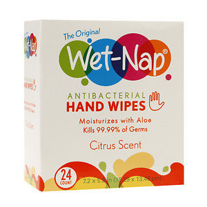 Wet-Nap Antibacterial Hand Wipes, Packets, Citrus, 24 ea