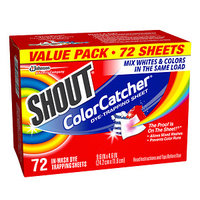 Shout Color Catcher Dye Trapping Sheets, 72 ea