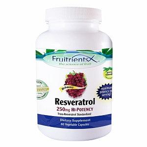 FruitrientsX - Resveratrol Trans-Resveratrol Standardized Hi-Potency 250 mg. - 60 Vegetarian Capsules
