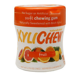 Xylichew Soft Chewing Gum Sweetened with Birch Xylitol Canister Packs, Fruit, 4 pk, 240 ea