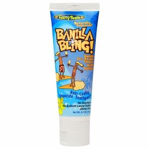 Tanners Tasty Paste Tanner's Tasty Paste Banilla Bling Anti-Cavity Fluoride Toothpaste with Xylitol, Vanilla Ice Cream, 4.2 oz