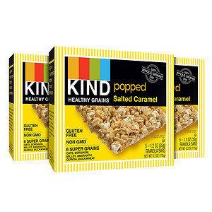 KIND Healthy Grains Popped Granola Bars 3 Pack, 15 pk, Salted Caramel, 1.2 oz
