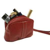 Piel 2590-RD Cosmetic Leather Bag - Red