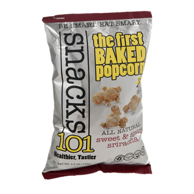 Snacks101 Baked Popcorn All Natural Sweet & Spicy Sriracha