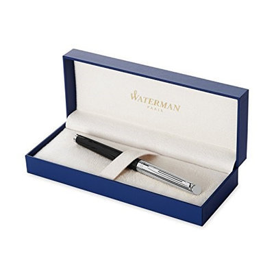 Waterman Hemisphere Deluxe Silky Black Chrome Trim With 8 Free Ink Cartridges Medium Point Fountain Pen