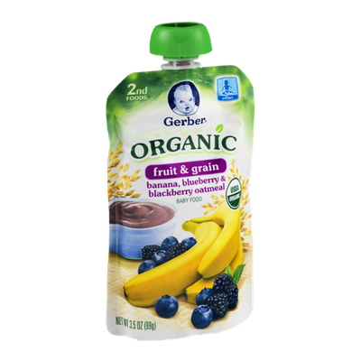 Gerber 2nd Foods Organic Baby Food Fruit & Grain Banana, Blueberry & Blackberry Oatmeal