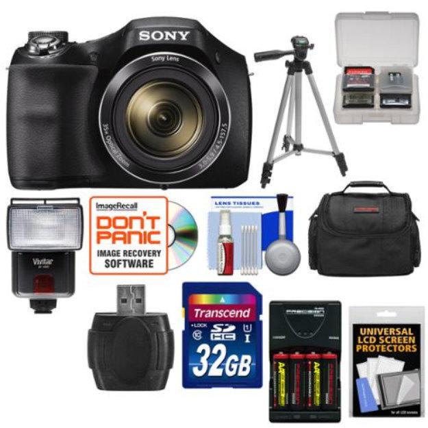Sony Cyber Shot Dsc H300 Digital Camera With 32gb Card Batteries