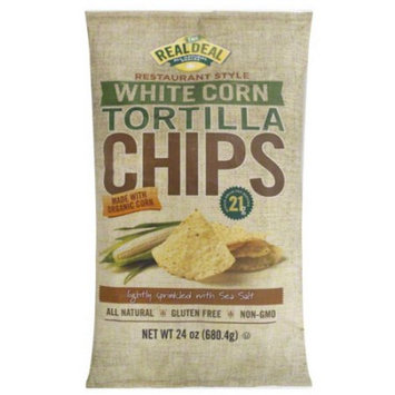 Real Deal All Natural Snacks Restaurant Style White Corn Tortilla Chips, 24 oz, (Pack of 9)