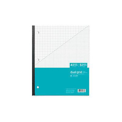 Office Depot(R) Brand Wireless Notebook, 8 1/2in. x 11in, 1 Subject, Dual-Sized Quadrille Ruled (4in. x 4in, 5in. x 5in.), 80 Sheets, Teal