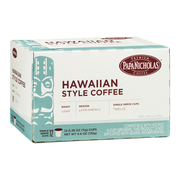 Papa Nicholas Hawaiian Style Coffee Single Serve Cups - 12 CT