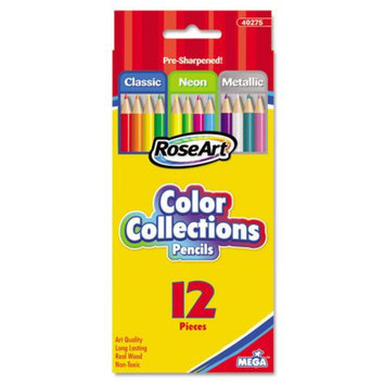 Board Dudes 40275UA24 Color Collections Colored Pencils Classic/neon/metallic Assorted 12/set