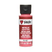 Plaid 139664 Folk Art Metallic Acrylic Paint 2 OuncesBright Red
