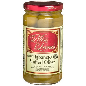 Miss Leone's Stuffed Queen Olives, Habanero, 12-Ounce Jars (Pack of 3)