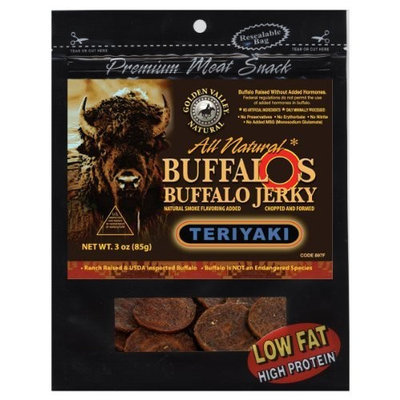 Golden Valley Natural Buffalo Jerky, Teriyaki, 3-Ounce Pouch (Pack of 8)