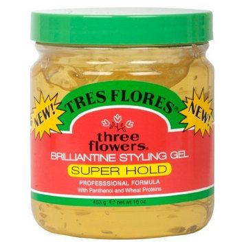 Three Flowers Brilliantine Styling Gel, Super Hold, 16-Ounce (Pack of 3)