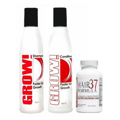 Advanced Hair Growth Vitamins Hair Formula 37 for Faster Growing Hair 30 day supply with Grow! Shampoo and Conditioner