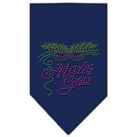 Mirage Pet Products 6747 SMNB Mardi Gras Rhinestone Bandana Navy Blue Small