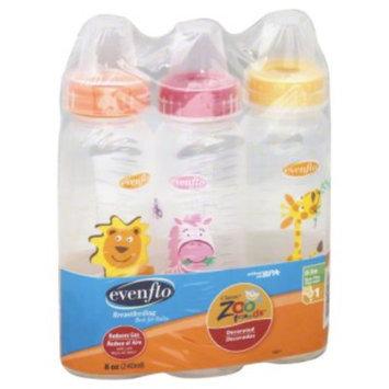 Evenflo Zoo Friends Polypropylene Bottle 8 oz, 3 Pack
