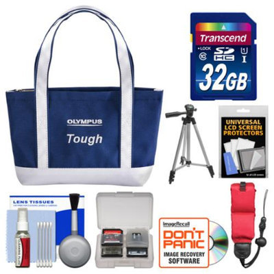 Olympus Mini Beach Bag Case / Tote Bag (Navy/White) with 32GB Card + Tripod + Float Strap + Kit for Tough TG-2, TG-3, TG-630, TG-850 Digital Camera