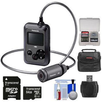 Panasonic HX-A500H 4K HD 25p POV Wearable Waterproof Video Camera Camcorder with 64GB Card + Case + Kit