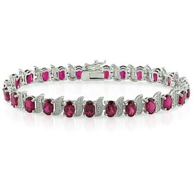 Amour 0.03 CT Diamond TW And 18 CT TGW Created Ruby Bracelet 7in