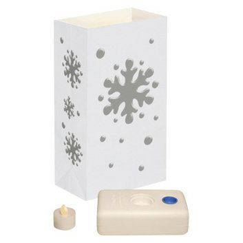 Lumabase Battery Operated LED Luminaria Kit- Snowflake (10 Count)