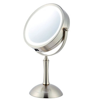 Ovente MDT70BR 7.0 inch Battery Operated LED Lighted Tabletop Vanity Makeup Mirror