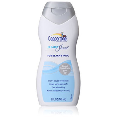 Coppertone Clearly Sheer SPF 50 Lotion for Beach and Pool