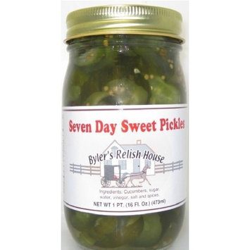 Byler's Relish House Homemade Amish Country Seven Day Sweet Pickles 16 oz.