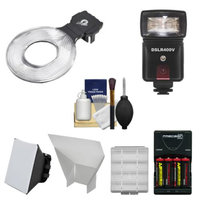 Ray Flash Universal Ring Flash Adapter (Small) with Flash + Batteries & Charger & Acccessory Kit