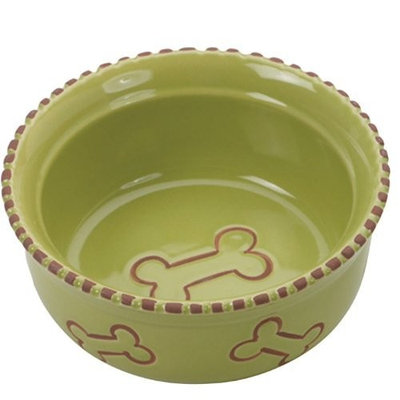 Ethical Pet Products (Spot) DSO6905 Terra Cotta Stoneware Dog Dish, 5-Inch, Green