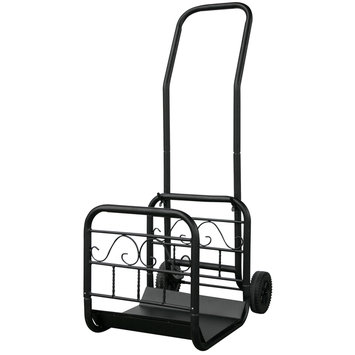 Blue Rhino UniFlame Large Black Wrought Iron Log Rack With Wheel And Removable Cart