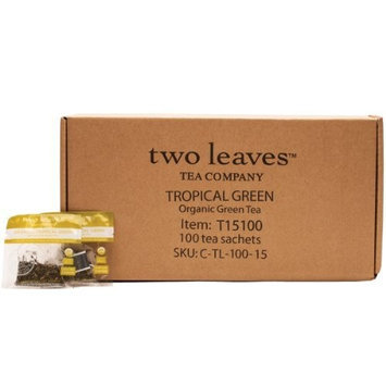 Two Leaves And A Bud Two Leaves Tea Company Organic Tropical Green Tea, 100-Count
