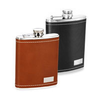 8 oz. Leather Flask with Double White Stitching