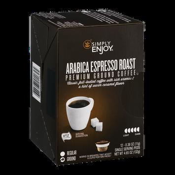 Simply Enjoy Ground Coffee Pods Arabica Espresso Roast - 12 CT