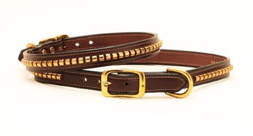 Tory Leather Clincher Dog Collar 24 Inch Havana