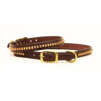Tory Leather Clincher Dog Collar 24 Inch Havana